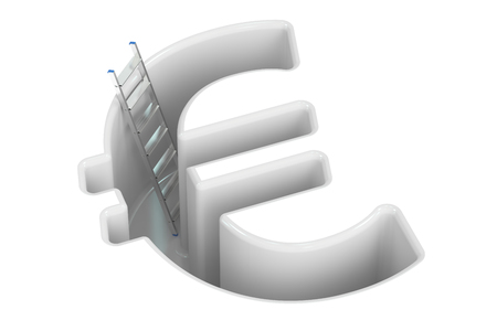 adder: Euro crisis concept, 3D rendering isolated on white background