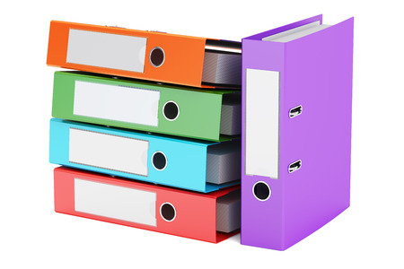ring binders: heap of colored ring binders, 3D rendering isolated on white background