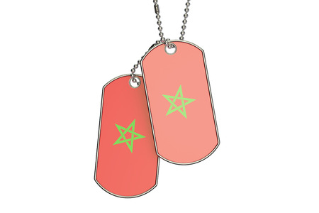 Morocco Dog Tags, 3D rendering isolated on white background Stock Photo
