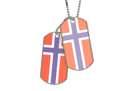 Norwegian Dog Tags, 3D rendering isolated on white background