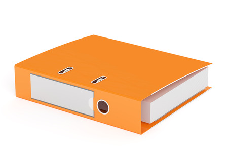 orange ring binder, 3D rendering isolated on white background