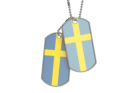 Swedish Dog Tags, 3D rendering isolated on white background Stock Photo