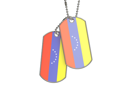 venezuelan: Venezuelan Dog Tags, 3D rendering isolated on white background