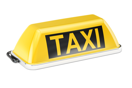 Yellow taxi car signboard, 3D rendering isolated on white background