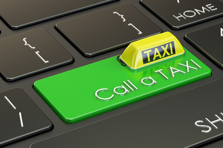Call a TAXI concept on keyboard, 3D rendering
