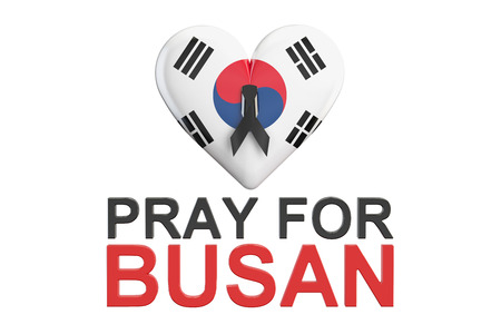 killed: Pray for Busan concept with heart, 3D rendering isolated on white background