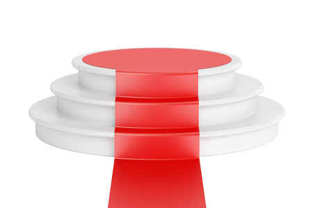 red carpet background: Empty podium with red carpet, 3D rendering isolated on white background