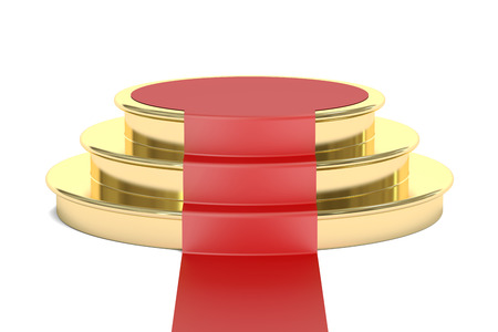 red carpet background: Podium with red carpet, 3D rendering isolated on white background