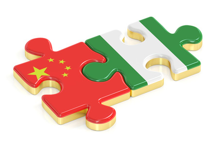 China and Nigeria puzzles from flags, 3D rendering