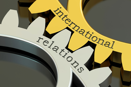 relations: International Relations concept on the gearwheels, 3D rendering