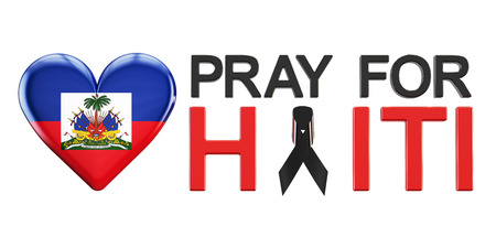 killed: Pray for Haiti concept with heart, 3D rendering Stock Photo