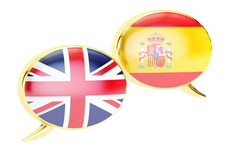 English-Spanish conversation concept, 3D rendering isolated on white background