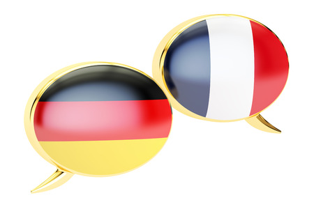 German-French conversation concept, 3D rendering isolated on white background Stock Photo