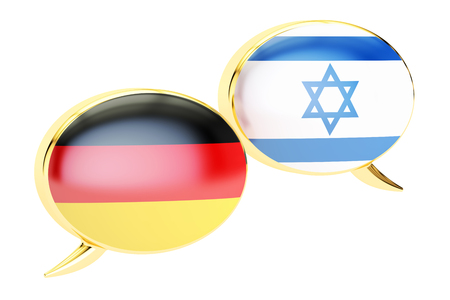 German-Israeli dialog concept, 3D rendering isolated on white background Stock Photo