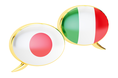 Japanese-Italian conversation concept, 3D rendering isolated on white background