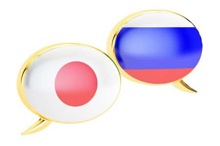 Japanese-Russian conversation concept, 3D rendering isolated on white background