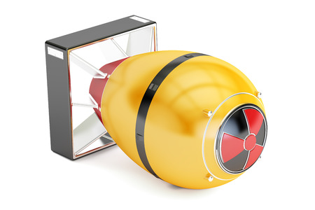 atomic bomb: Yellow atomic bomb, 3D rendering isolated on white background Stock Photo