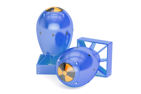 hidrógeno: Las bombas atómicas, representación 3D aislada en el fondo blanco Foto de archivo