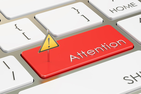 Attention button, on the computer keyboard. 3D rendering Stockfoto
