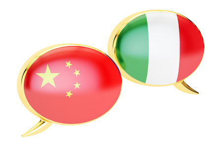 Chinese-Italian conversation concept, 3D rendering isolated on white background Stock Photo