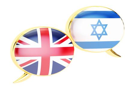 English-Israeli translation concept, 3D rendering isolated on white background