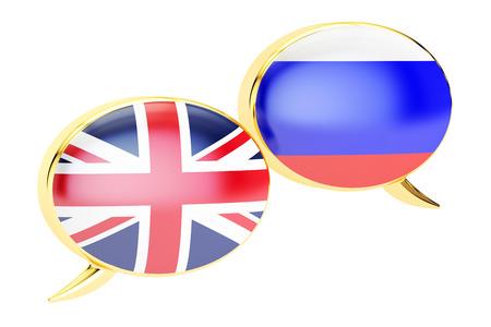 Engels-Russische gesprek concept, 3D-rendering op een witte achtergrond
