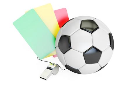 concepto del fútbol con verde,, tarjetas y silbato amarillo rojo. Representación 3D aislada en el fondo blanco