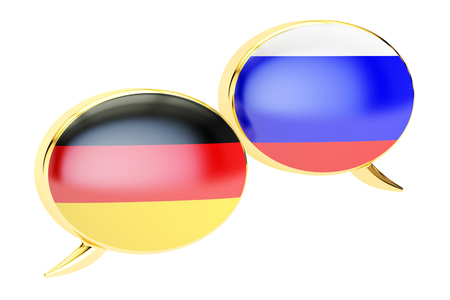 Speech bubbles, German-Russian  conversation concept, 3D rendering isolated on white background