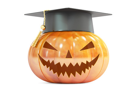 october 31: Halloween Pumpkin with academic cap, 3D rendering isolated on white background