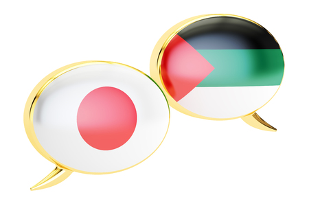 Japanese-Arab conversation concept, 3D rendering isolated on white background