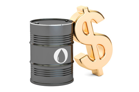 oil barrel and dollar symbol, 3D rendering isolated on white background