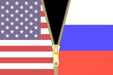 relation: Relation from Russia and USA, political concept. 3D rendering Stock Photo