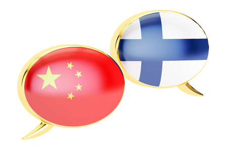 Speech bubbles, Chinese-Finnish conversation concept. 3D rendering isolated on white background Stock Photo
