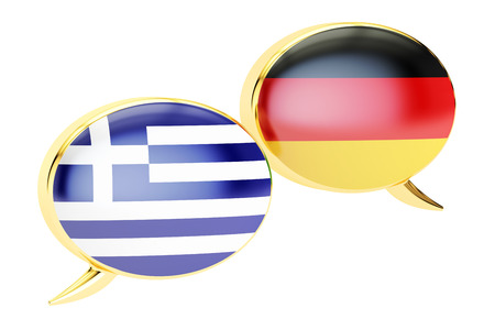 Speech Bubbles, Greek-German translation concept, 3D rendering isolated on white background Stock Photo
