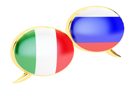 Speech Bubbles, Italian-Russian dialog concept, 3D rendering isolated on white background