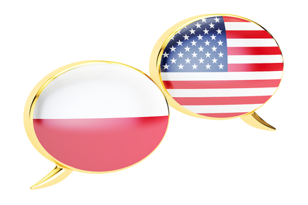 Speech bubbles, Polish-American translation concept. 3D rendering isolated on white background Stock Photo