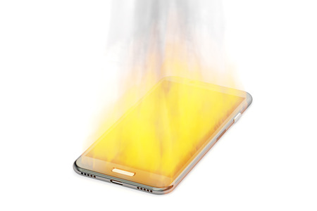 fire hazard: burning phone, 3D rendering isolated on white background Stock Photo