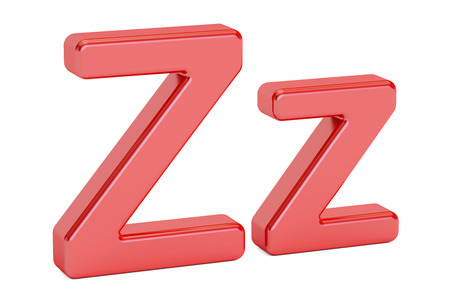 Capital and small red letter Z, 3D rendering isolated on white background