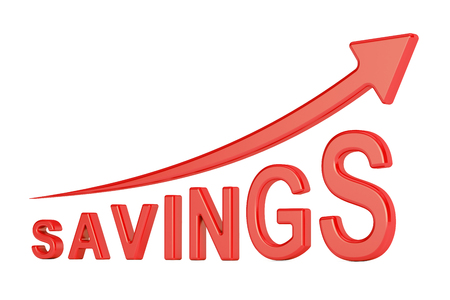 savings concept with arrow, 3D rendering isolated on white background