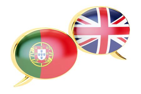 bandera de portugal: burbujas del discurso, Portugués-Inglés conversación concepto. Representación 3D aislada en el fondo blanco Foto de archivo