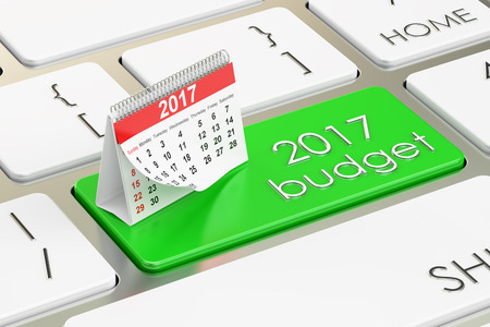 financial year: 2017 budget concept, 3D rendering
