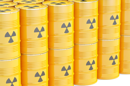 radioactive waste: barrels with radioactive waste, 3D rendering isolated on white background