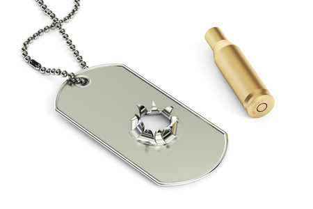 blank metallic identification plate: Dog tag with hole from bullet, 3D rendering. War concept Stock Photo