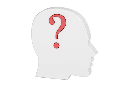 questionmark: Question concept. Human head with question mark. 3D rendering isolated on white background Stock Photo
