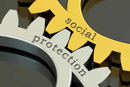 vulnerable: Social Protection concept on the gearwheels, 3D rendering