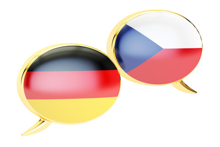 Speech bubbles, German-Czech  translation concept. 3D rendering