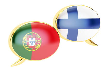Speech bubbles, Portuguese-Finnish conversation concept. 3D rendering isolated on white background Stock Photo