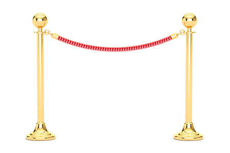 barrier rope, 3D rendering isolated on white Stock Photo