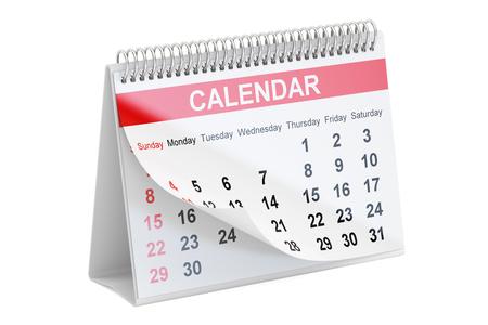 desk calendar: Desk Calendar, 3D rendering isolated on white background Stock Photo