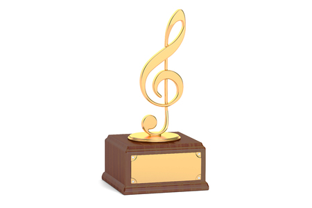 prestige: Music award concept. 3D rendering isolated on white background